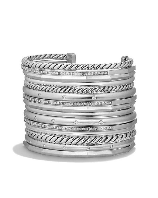 David Yurman | Metallic Stax Wide Cuff Bracelet With Diamonds, 54mm | Lyst
