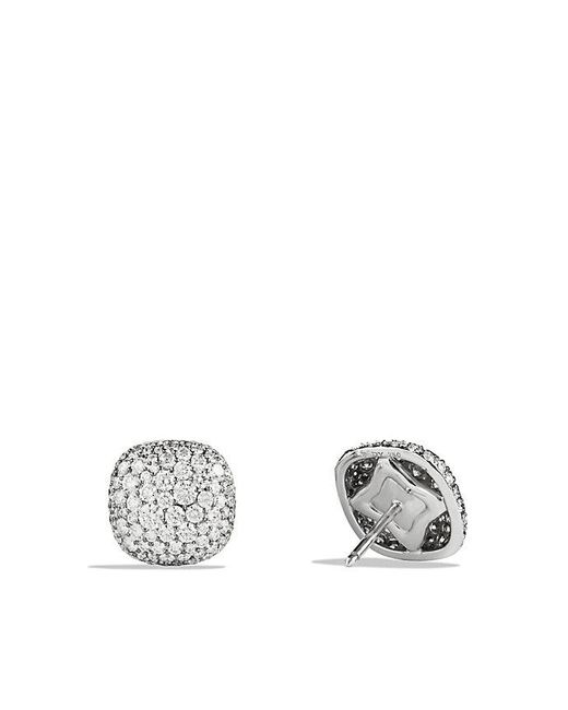 David Yurman - Pavé Earrings With Diamonds In 18k White Gold - Lyst
