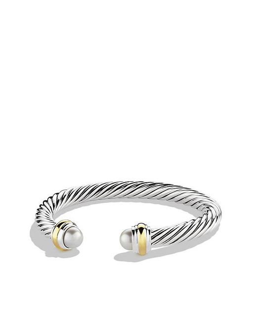 David Yurman | White Cable Classics Bracelet With Pearl And 14k Gold, 7mm | Lyst