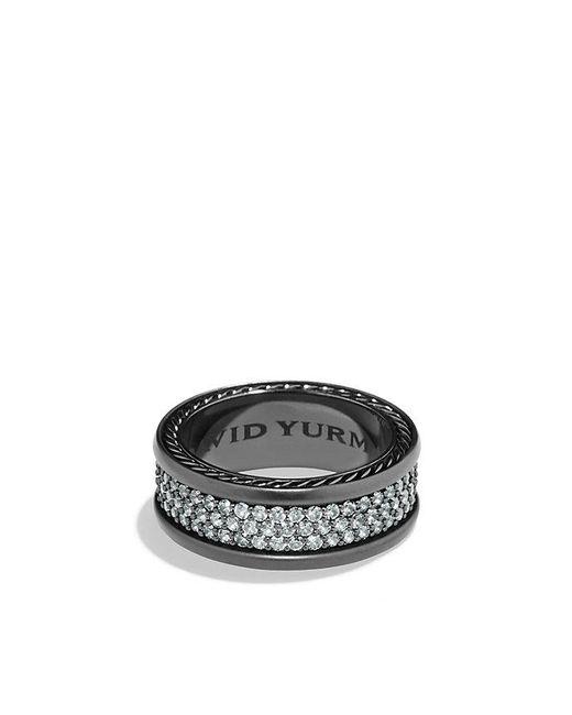 David Yurman - Streamline Three Row Pave Band Ring With Gray Sapphire And Black Titanium, 9mm - Lyst
