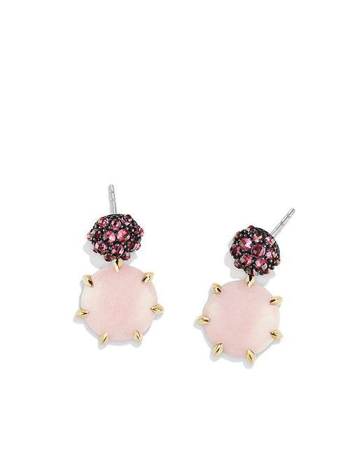 David Yurman - Osetra Drop Earrings With Pink Opal, Rhodalite Garnet And 18k Gold - Lyst