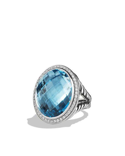 David Yurman | Oval Ring With Blue Topaz And Diamonds | Lyst