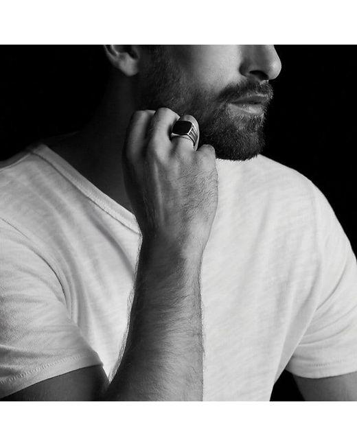 David Yurman | Knife-edge Signet Ring With Black Diamonds for Men | Lyst