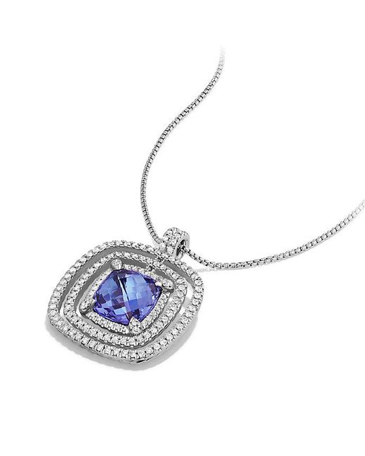 David Yurman - Metallic Chatelaine Pave Bezel Enhancer With Tanzanite And Diamonds In 18k White Gold, 26mm - Lyst