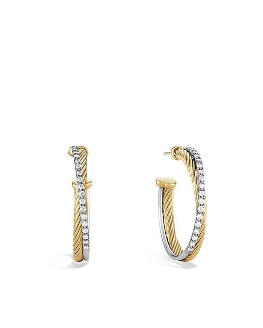 David Yurman - Metallic Crossover Medium Hoop Earrings With Diamonds In 18k Gold - Lyst