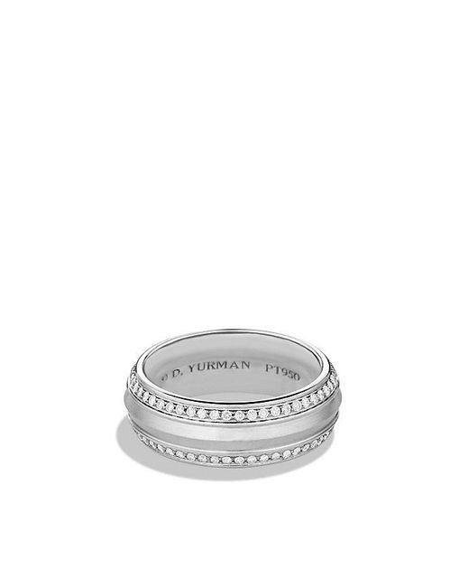David Yurman - Metallic Knife Edge Band Ring With Diamonds In Platinum, 10mm for Men - Lyst