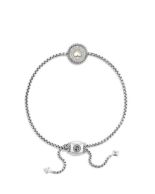 David Yurman - Metallic Cable Collectibles Heart Charm Bracelet With Diamonds With 18k Gold - Lyst