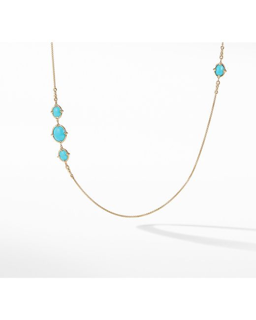 David Yurman - Metallic Chatelaine® Long Necklace In 18k Gold With Turquoise - Lyst