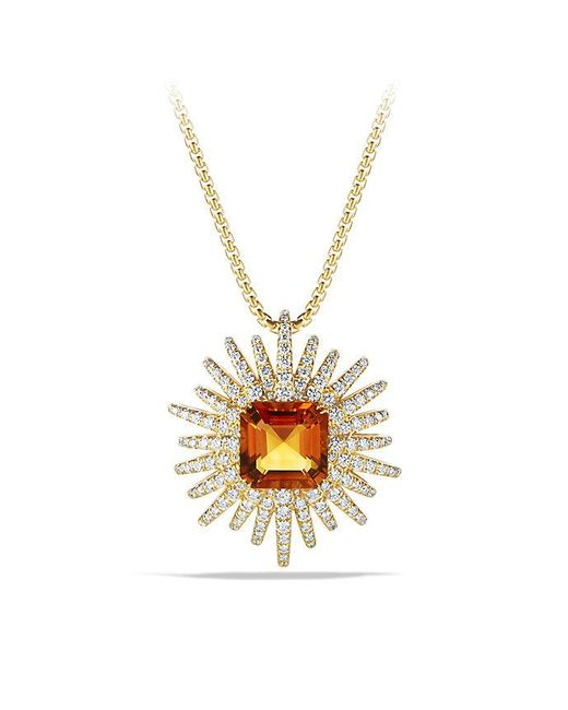 David Yurman - Metallic Starburst Pendant Necklace With Diamonds And Madeira Citrine In 18k Gold, 30mm - Lyst
