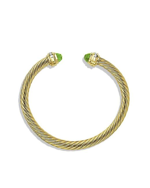 David Yurman | Yellow Cable Classic Bracelet With Peridot And Diamonds In 18k Gold, 5mm | Lyst