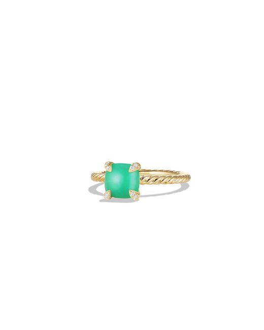 David Yurman - Multicolor Chatelaine Ring With Chrysoprase And Diamonds In 18k Gold, 7mm - Lyst