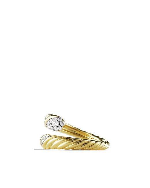 David Yurman | Metallic Willow Open Single-row Ring With Diamonds In 18k Gold | Lyst