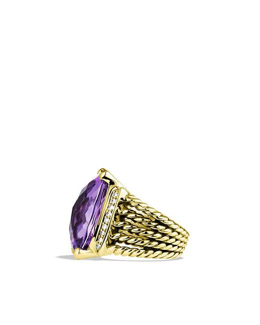 David Yurman - Yellow Wheaton Ring With Amethyst And Diamonds In 18k Gold - Lyst