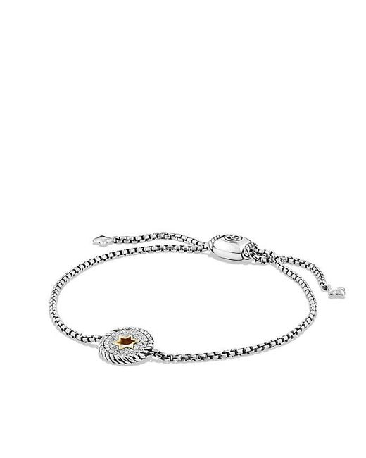 David Yurman | Metallic Cable Collectibles Star Of David Charm Bracelet With Diamonds And 18k Gold | Lyst