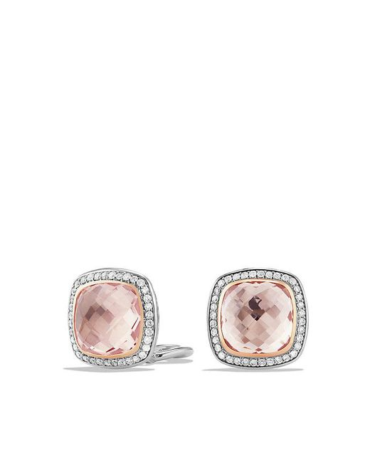 David Yurman - Multicolor Albion Earrings With Morganite And 18k Rose Gold, 11mm - Lyst