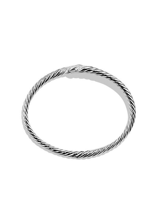 David Yurman | Metallic Willow Open Single-row Bracelet With Diamonds, 11mm | Lyst