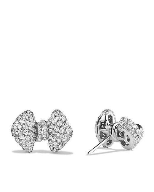 David Yurman - Dy Signature Bow Earrings With Diamonds In 18k White Gold - Lyst
