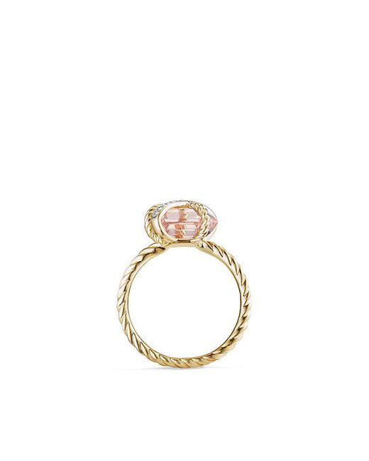 David Yurman | Metallic Cable Wrap Ring With Morganite And Diamonds In 18k Gold, 10mm | Lyst
