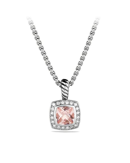 David Yurman | Metallic Petite Albion Pendant Necklace With Morganite And Diamonds | Lyst