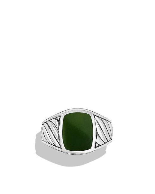 David Yurman | Green Cable Classics Signet Ring With Jade | Lyst