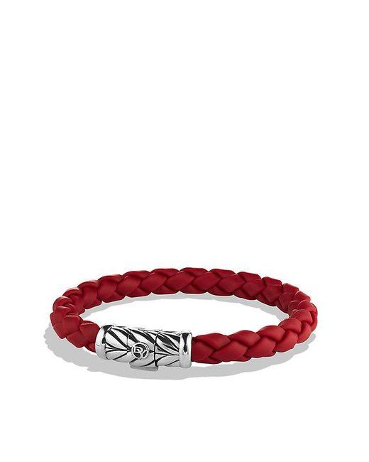 David Yurman - Chevron Rubber Weave Bracelet In Red, 8mm for Men - Lyst