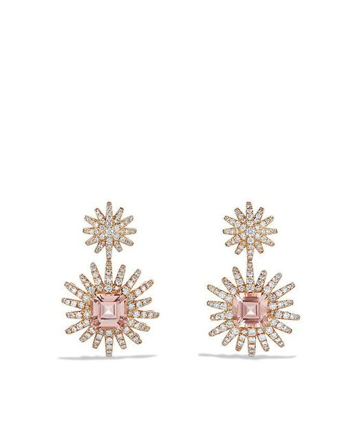 David Yurman | Pink Starburst Drop Earring With Morganite And Diamonds In 18k Rose Gold | Lyst