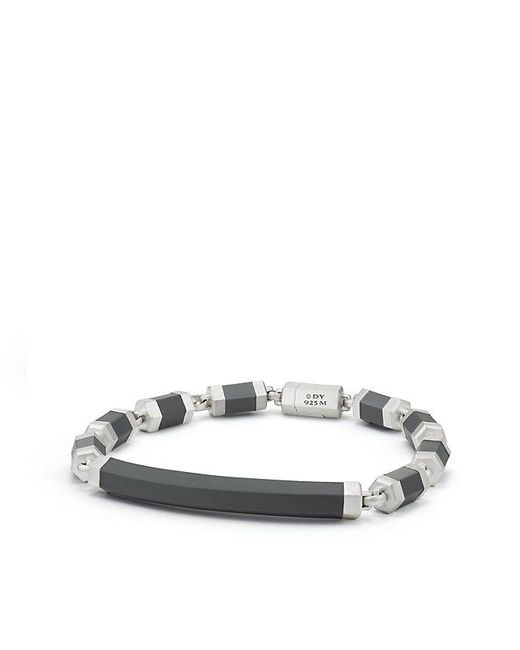 David Yurman - Gray Hex Id Bracelet In Grey - Lyst