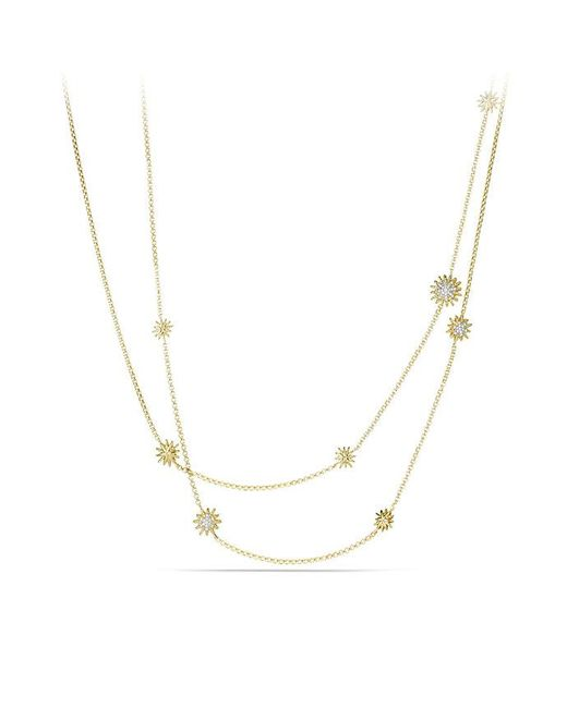 David Yurman - Metallic Starburst Station Chain Necklace With Diamonds In 18k Gold - Lyst