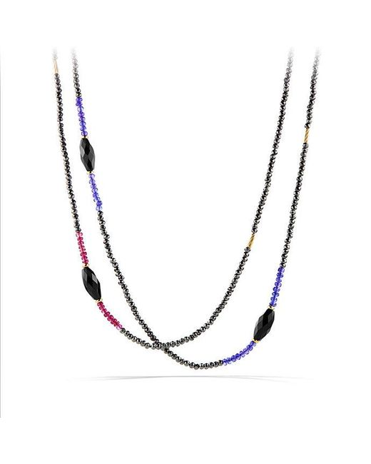 David Yurman - Metallic Dy Signature Bead Necklace With Pyrite And Tanzanite In 18k Gold - Lyst