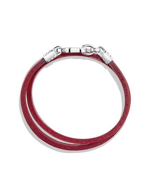 David Yurman   Chevron Double Wrap Leather Bracelet In Red   Lyst