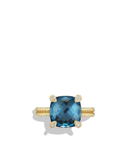 David Yurman | Chatelaine Ring With Hampton Blue Topaz And Diamonds In 18k Gold | Lyst