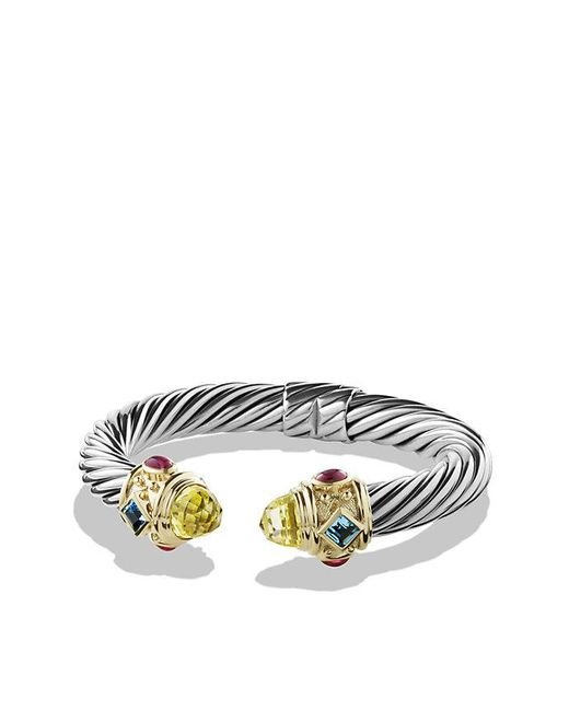 David Yurman | Yellow Renaissance Bracelet With Lemon Citrine,blue Topaz, Rhodalite Garnet And 14k Gold, 10mm | Lyst