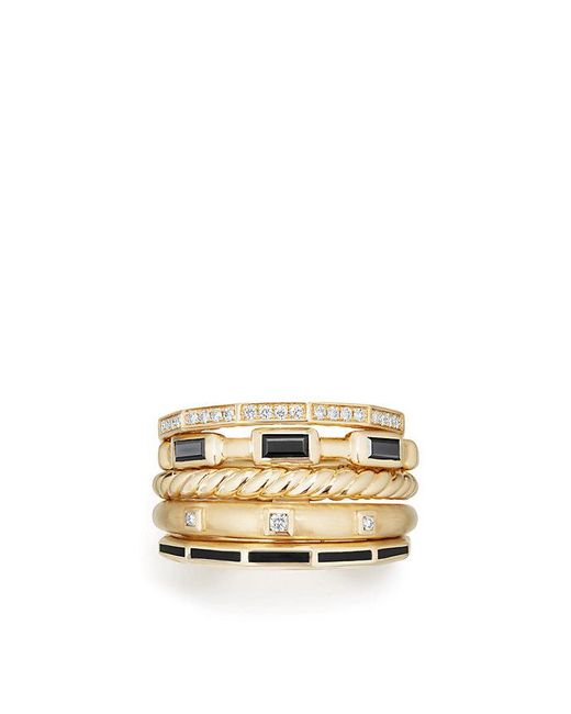 David Yurman - Metallic Stax Ring With Black Spinel, Black Enamel And Diamonds In 18k Gold, 13mm - Lyst