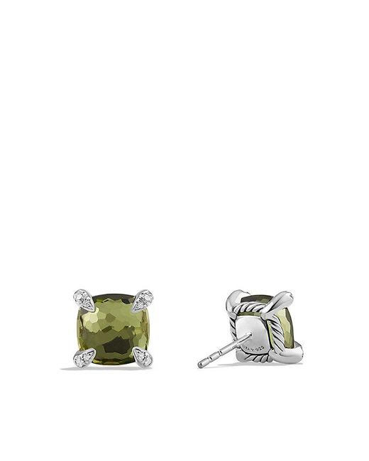 David Yurman - Châtelaine® Earrings With Green Orchid And Diamonds, 9mm - Lyst