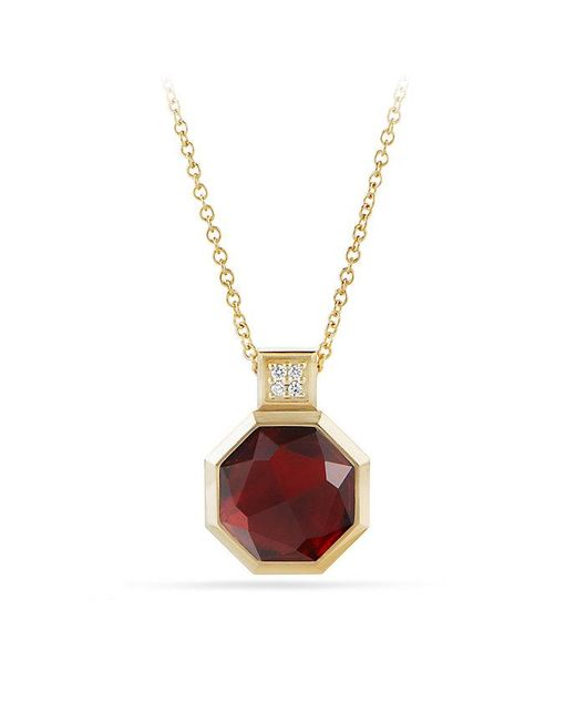 David Yurman - Metallic Guilin Octagon Pendant Necklace With Garnet And Diamonds In 18k Gold - Lyst