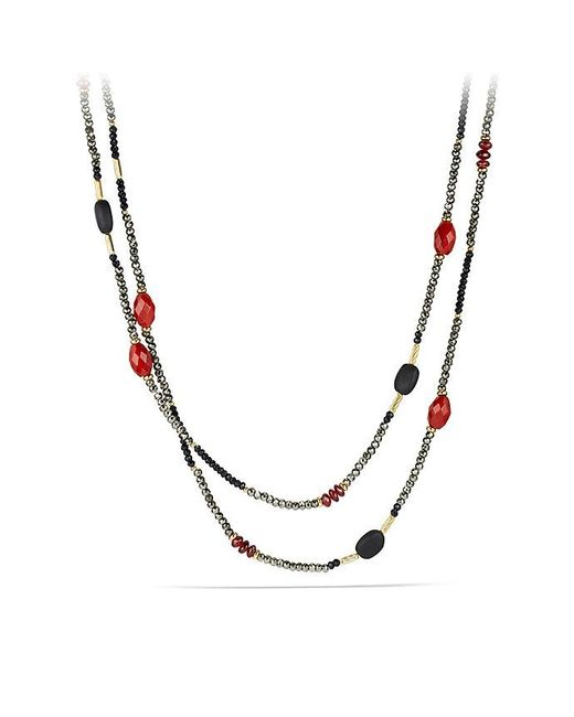 David Yurman | Metallic Dy Signature Bead Necklace With Pyrite, Red Agate And Black Onyx In 18k Gold | Lyst