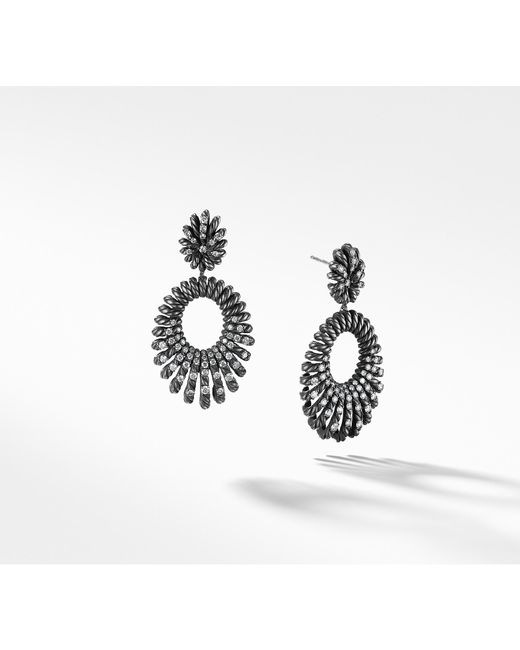 David Yurman - Metallic Double Drop Earrings With Diamonds - Lyst