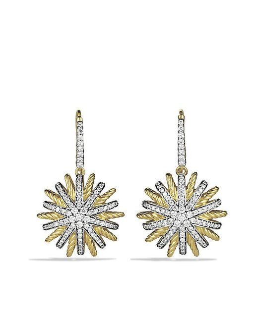 David Yurman - Metallic Starburst Drop Earrings With Diamonds In 18k Gold - Lyst
