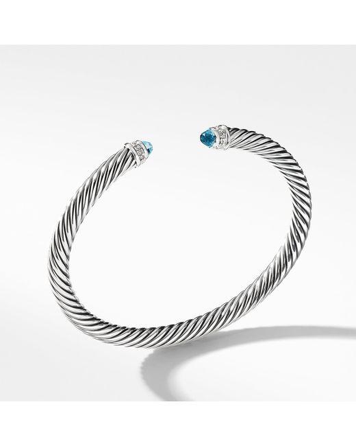 David Yurman - Cable Classics Bracelet With Blue Topaz And Diamonds, 5mm - Lyst