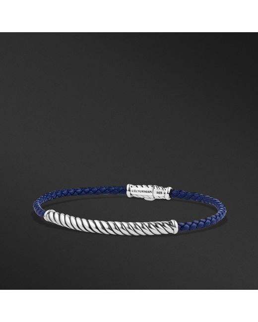 David Yurman - Cable Classic Leather Bracelet In Blue for Men - Lyst