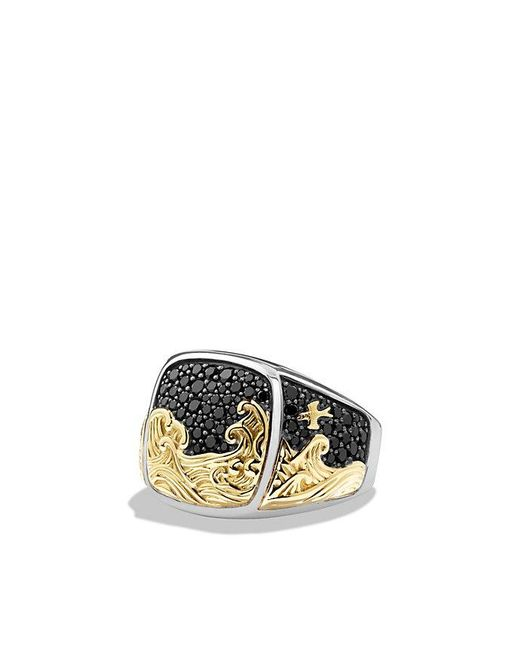 David Yurman - Waves Signet Ring With Black Diamonds And 18k Gold for Men - Lyst