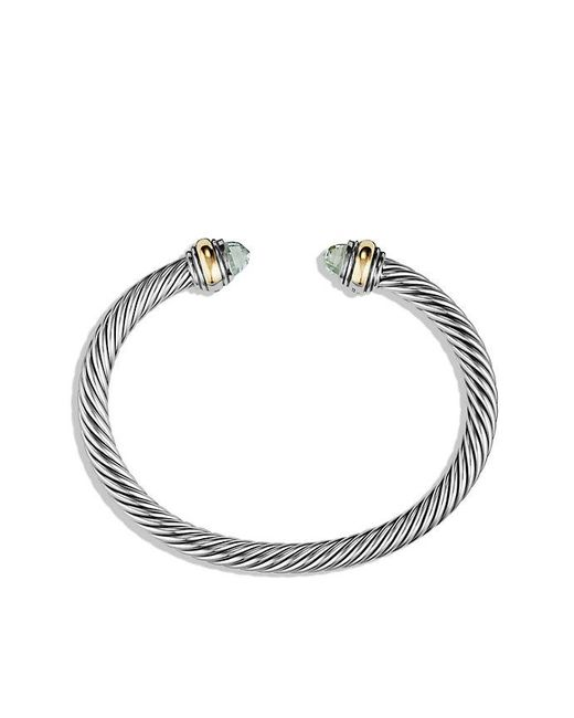 David Yurman | Metallic Cable Classic Bracelet Prasiolite With 14k Gold, 5mm | Lyst