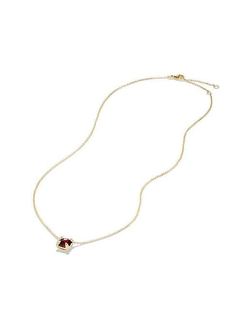 David Yurman | Multicolor Châtelaine Pendant Necklace With Garnet And Diamonds In 18k Gold, 7mm | Lyst