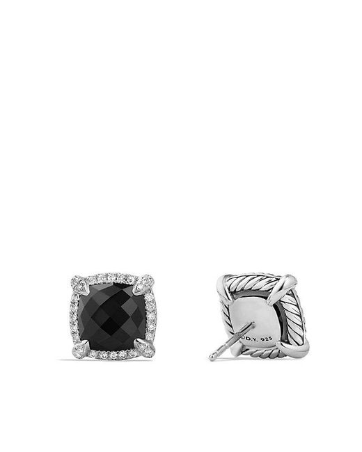 David Yurman | Châtelaine Pavé Bezel Stud Earrings With Black Onyx And Diamonds | Lyst