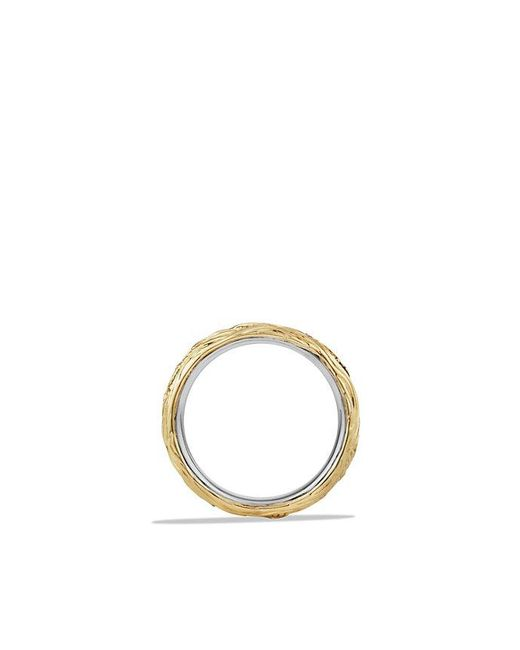 David Yurman - Waves Band Ring With Black Diamonds And 18k Gold for Men - Lyst