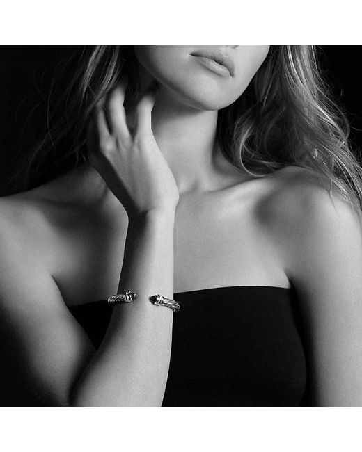 David Yurman - Metallic Cable Classic Crossover Bracelet With Black Onyx And Diamonds, 7mm - Lyst