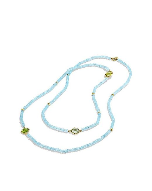 David Yurman | Dy Signature Bead Necklace With Blue Topaz, Lemon Citrine And Prasiolite In 18k Gold | Lyst