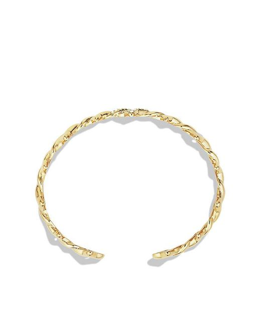 David Yurman | Metallic Venetian Quatrefoil® Single-row Cuff Bracelet With Diamonds In 18k Gold, 9mm | Lyst