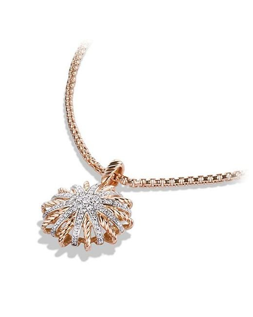 David Yurman | Metallic Starburst Small Pendant Necklace With Diamonds In 18k Rose Gold, 18mm | Lyst
