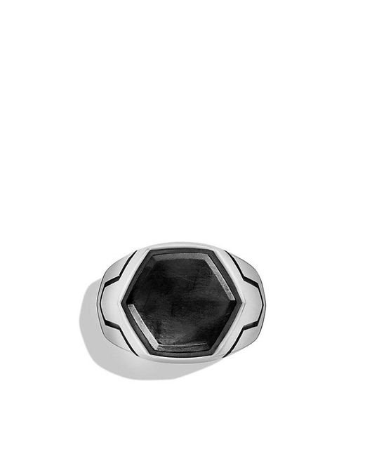 David Yurman | Black Forged Carbon Signet Ring for Men | Lyst